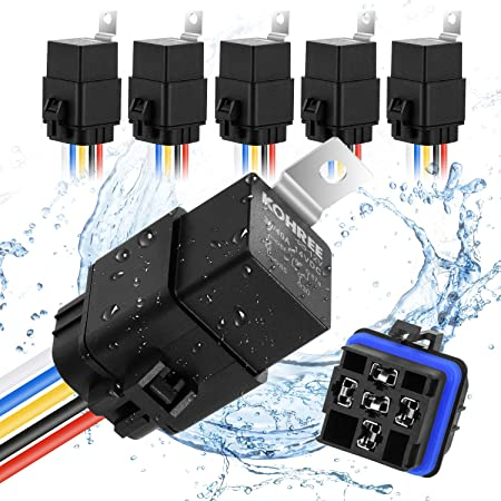 Kohree 40/30 Amp Automotive Relay Harness, 5-Pin SPDT Bosch Relay 12V 30Amp Waterproof Automotive Marine Relays 5 Pack for Boats Auto Fan Cars with 16 AWG 14 AWG Harness Wires Kit