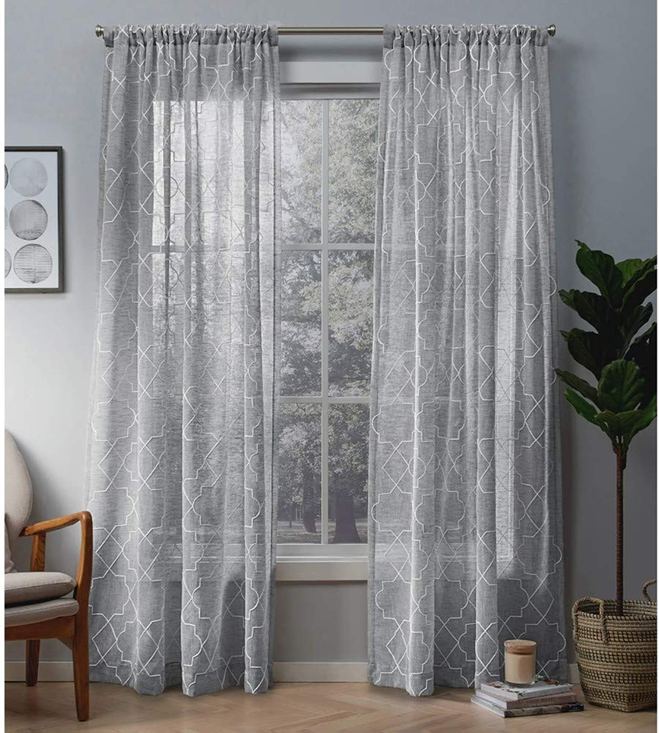 Exclusive Home Curtains Cali Embroidered Sheer Window Curtain Panel Pair with Rod Pocket, 50x108, Dove Grey, 2 Piece