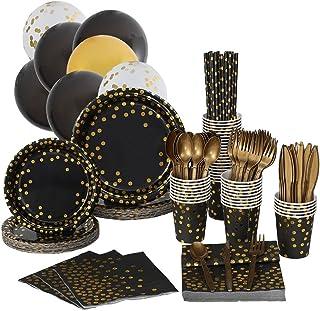 Juego de 226 piezas desechables para fiestas, color negro y dorado, para 25 invitados, vajilla de fiesta, platos de papel,...