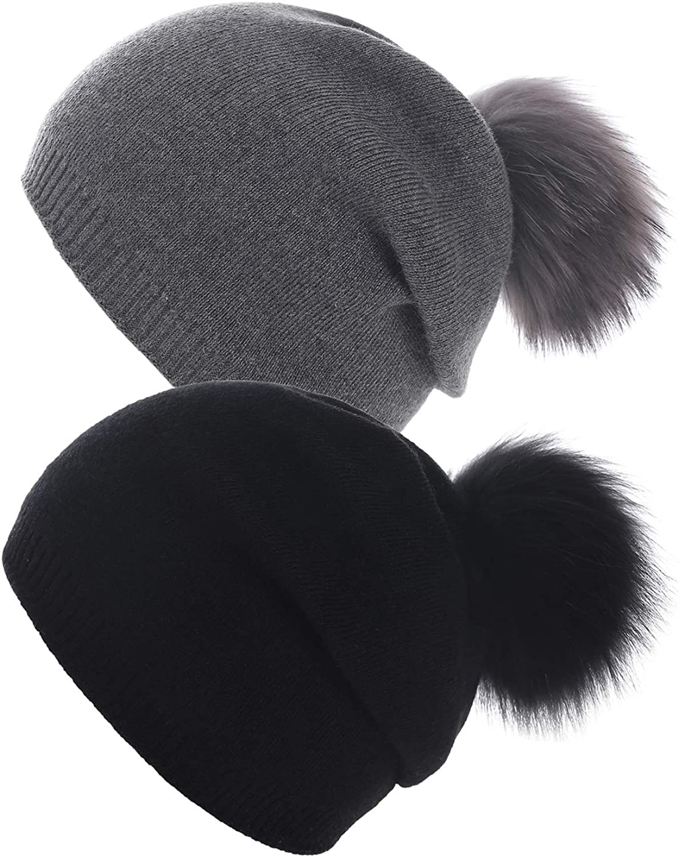 Women Knit Wool Beanie - Winter Solid Cashmere Ski Hats Real Raccoon Fur Pom Pom
