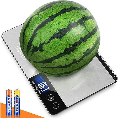 HOMEVER Balance Cuisine, 15kg Balance de Cuisine Electronique de Haute Précision, LCD Rétroéclairé Acier Inoxydable, Arrêt Automatique, Fonction Tare/Zéro, 2 Batterie Sont Compris