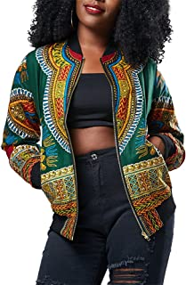 Women's Casual African Print Zipper Dashiki Short Bomber Jacket Coat with Pockets