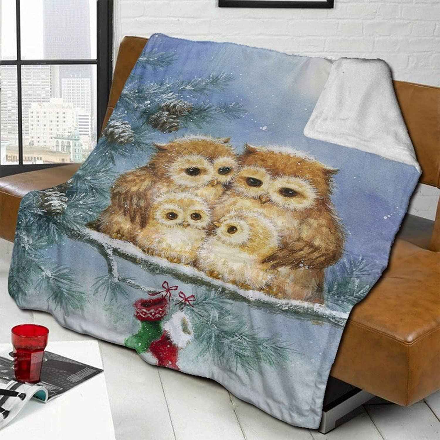 Owl Family in Snow Throw Blanket Ranking TOP3 Large special price !! Double-Sided Blan Bed Wool Lamb