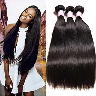 Beauty Forever Hair Brazilian Virgin Straight Hair 3 Bundles 100% Unprocessed Human Hair Weave Extensions Natural Color Can Be Dyed and Bleached (16 18 20)
