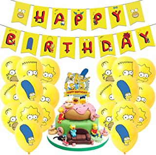 simpsons party supplies , simpson's birthday party Set includes happy birthday banner, simpsons cake toppers,birthday ball...