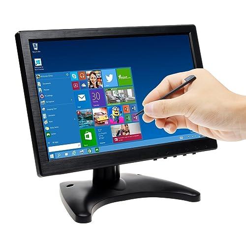 Écran 10.1 Pouces TOGUARD Moniteur Avec Écran Tactile LED en Couleur, Affichage de Moniteur 1280*800 Écran de Surveillance, Inclut Sortie VGA/AV/BNC/HDMI/USB et Haut-Parleur Intégré
