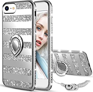 Maxdara Case for iPhone 8 iPhone 7 Glitter Case Mirror Striped Bling Shiny Diamond Rhinestone with Kickstand Ring Stand Cute Women Girls Case for iPhone 6 6s 7 8 4.7 inches (Sliver)