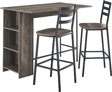 """Walker Edison AZW48LNSB3PGW 3 Piece Drop Leaf Counter Table Dining Set with Storage, 48"""", Grey Wash"""