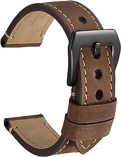 WOCCI Correas de Reloj de Micro Gamuza, Cuero Vintage Crazy Horse, Hebilla de Acero Inoxidable Resistente, Correas de Repu...