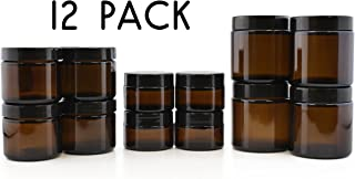 Combo Pack of 1, 2 & 4-Ounce Amber Glass Straight Sided Jars (4 Each / 12 Total); Great Containers for Cosmetics, Lotions, Body Scrubs & Balms