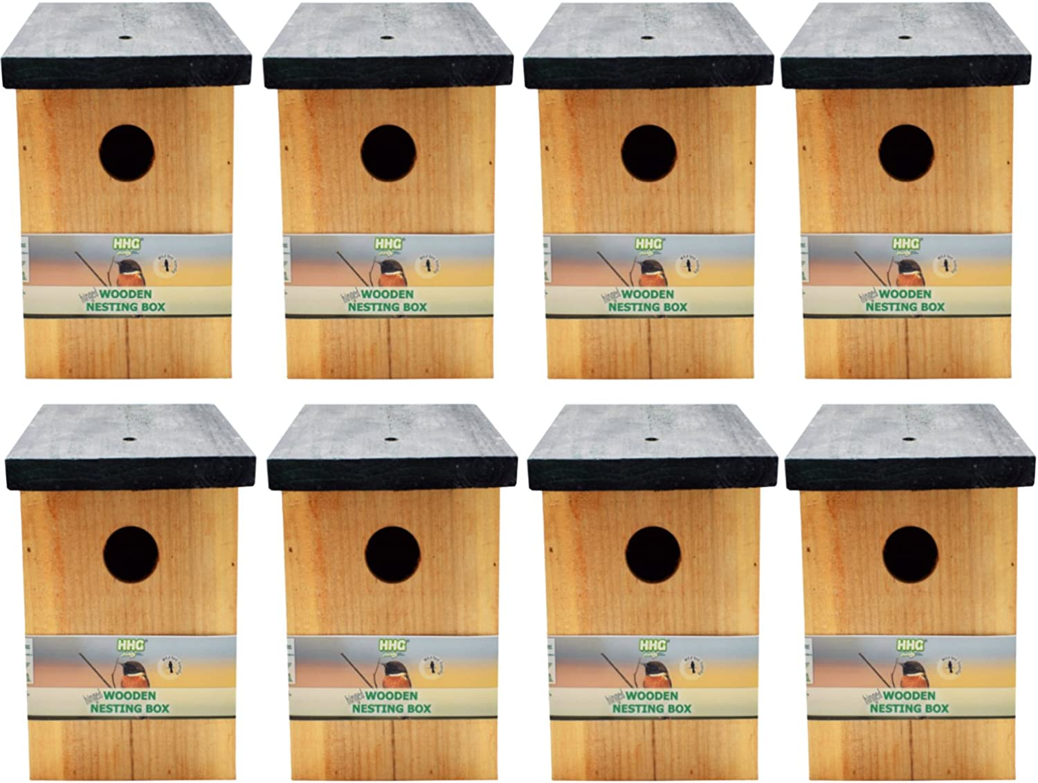 Handy Home and Garden 8 x Pressure Treated Wooden Wild Bird House Wood Nesting Box HHGBF017  Multi Buy Bundles Available