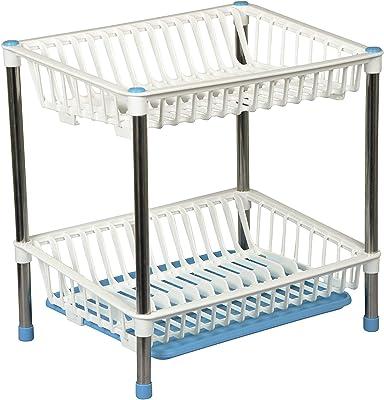 LWVAX® Plastic Kitchen Sink Dish Drying Drainer Rack Holder Basket Organizer with Tray Utensils Tools Cutlery