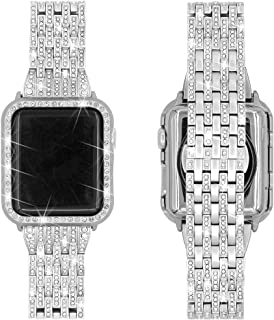 Falandi Replacement for Apple Watch Bands with Rhinestones Face Case, for Women Men, Bling Stainless Steel Replacement Diamond Wristband for iWatch Series 3, 2, 1, Nike+ Sport Edition (Silver, 42mm)