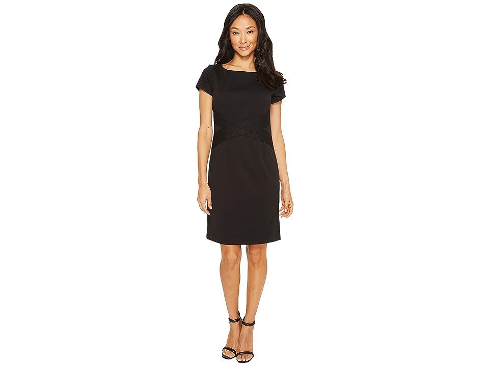Ellen Tracy Short Sleeved Ponte Dress with Waist Detail (Black) Women