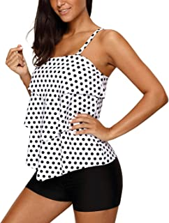 Dearlove Women Retro Polka Dot Ruffle Halter Tankini Top Two Piece Swimsuit