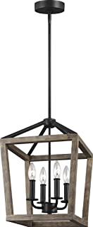Feiss F3190/4WOW/AF Gannet Wood Lantern Pendant Lighting, Brown, 4-Light (12