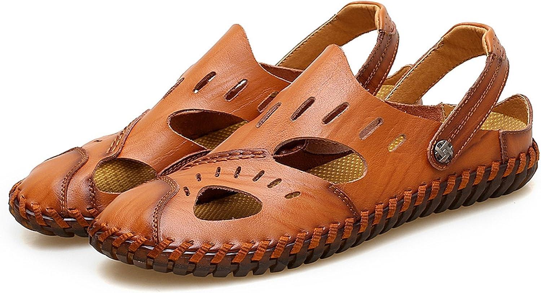 Auspiciousi Summer Men Flat Sandals Fashion Men Genuine Leather Sandals Rubber Male Sandal