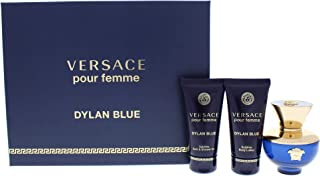 Versace Pour Femme Dylan Blue Eau De Perfume Spray with Shower Gel and Body Lotion Gift Set for Women, Pack of 3