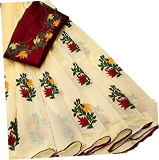 ANY DESINGER Women's Chanderi Cotton Silk Saree With Blouse Piece (Yellow)