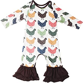 Baby Girls Cotton Long Sleeve Floral Ruffles Romper