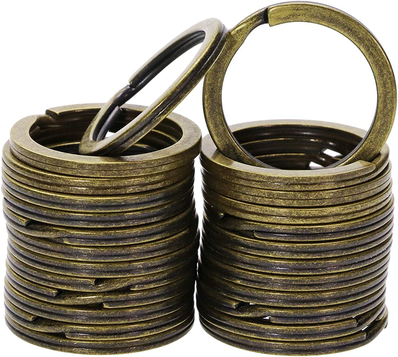 25PCS Round Flat Key Chain Rings for Women Men Dog Tag Car Keys Crafts, 1 Inch