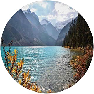 Round Rug Mat Carpet,Landscape,Lake Louise Banff National Park Canada Mountains Autumn Plants,Light Blue and Earth Yellow,Flannel Microfiber Non-Slip Soft Absorbent,for Kitchen Floor Bathroom