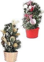 KESYOO 2pcs Christmas Tabletop Tree Mini Christmas Tree Glitter Ball Ornament Artificial Sisal Snow Needle Tree for Table ...