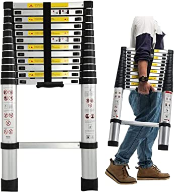 12.5Ft/3.8M Folding Ladder - Aluminum Telescopic Extension Soft Close Climb Folding Step Ladder Extends - Climb Up to Loft or