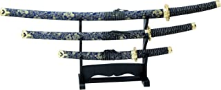 BladesUSA Jl-021Bl4 Katana Samurai Sword Set, 3-Piece with Scabbard and Display Stand, 40-Inch Overall Katana