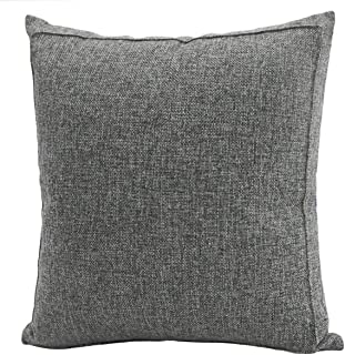 Jepeak Burlap Linen Throw Pillow Cover Cushion Case, Farmhouse Modern Decorative Solid Square Thickened Pillow Case for Sofa Couch (22 x 22 inches, Dark Grey)