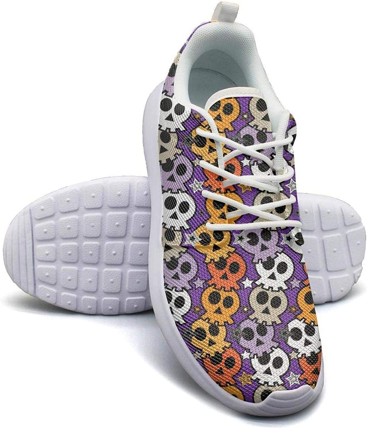 Cheerful Suger Skull Floral Casual shoes for Women Spring Wear-Resistant Mesh Lace-Up Running shoes