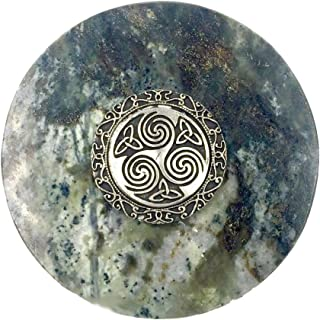 Connemara Genuine Irish Marble/Mullingar Pewter Paperweight Triskele Celtic Design