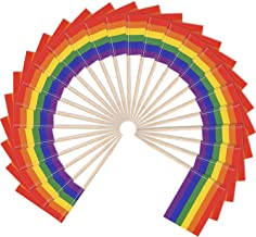 Hestya Gay Pride Flags Toothpicks Rainbow Flag Picks Cupcake Toppers for Party Pride Event (100)