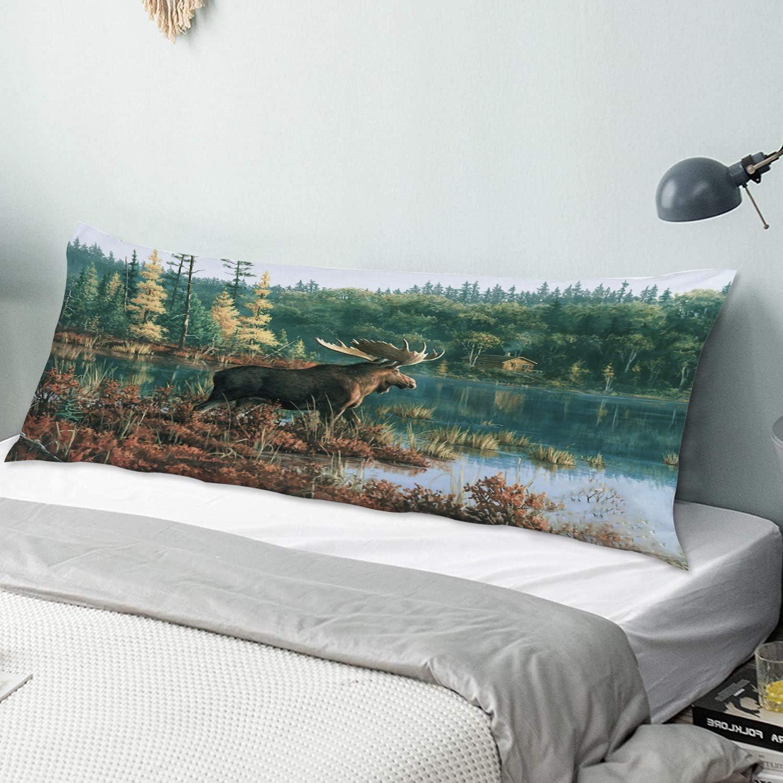 NINEHASA Body Financial sales sale Pillow Pillowcase Back Dec Animals Moose Bay Attention brand Print
