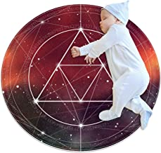 Fantasikonstellation, barn rund matta polyester överkast matta mjuk pedagogisk tvättbar matta barnkammare tipi tält lekmatta