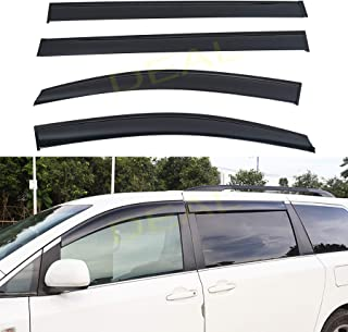 DEAL 4-piece set JDM style dark smoke vent window visor, side window rain guard with outside mount tape-on type, custom fit high-class quality for 2011-2019 Toyota Sienna