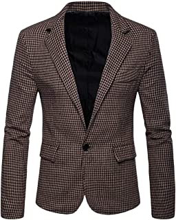 Mens Houndstooth Notched Lapel One Button Sport Coat Classic Fit Blazer Jacket