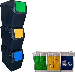Wellhome Prosperplast Lot de 3 bacs de 60 litres de Couleur 39 x 23 x 33 cm avec 3 Sacs de Recyclage pour extérieur, Anthr...