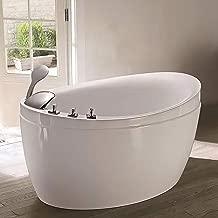 Empava Made in USA 48 Inch Acrylic Luxury Freestanding Bathtub Hot Whirlpool Soaking SPA Air Massage Tub White, JCB011, Wood