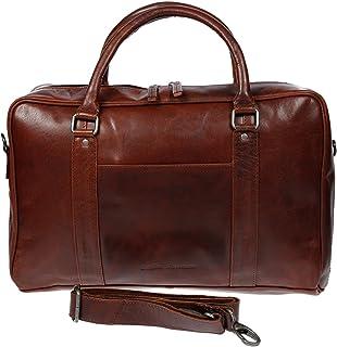 Christian Wippermann große Aktentasche Laptoptasche 15.6 Zoll aus echtem Leder mit TÜV geprüftem RFID Schutz Braun