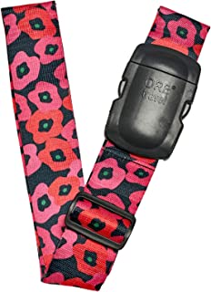 Travel Premium Designer Luggage Strap -LS317-Poppies-Black/Red
