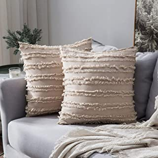 Best MIULEE Set of 2 Decorative Boho Throw Pillow Covers Cotton Linen Striped Jacquard Pattern Cushion Covers for Sofa Couch Living Room Bedroom 18x18 Inch Beige Review
