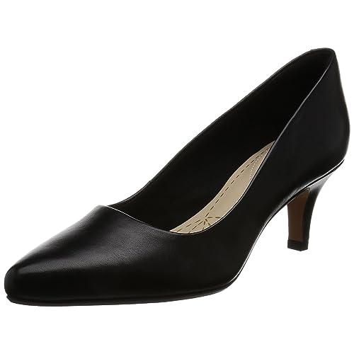 Damen Pumps Schwarz Leder: