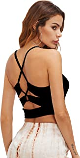Romwe Women's Sexy Cutout Back Crisscross Spaghetti Strap Crop Cami Top