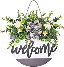 Bilingsley deurbordje houten bordje huisdeur Welcome bloemenpatroon teken om op te hangen wandbordje deurhangers, buiten t...