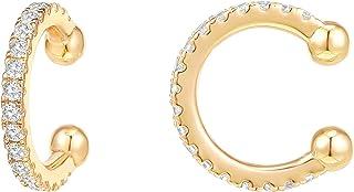PAVOI 14K الذهب مطلي 925 الفضة الاسترليني مكعب زركونيا لامعة جولة الأذن هاجي أقراط الذهب للنساء   كليب على غضروف