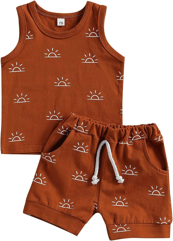 Toddler Baby Boy Girl Outfits 2Pcs Summer Shorts Set Sun Print Short Sleeve Tops T-Shirt and Shorts Clothes Set