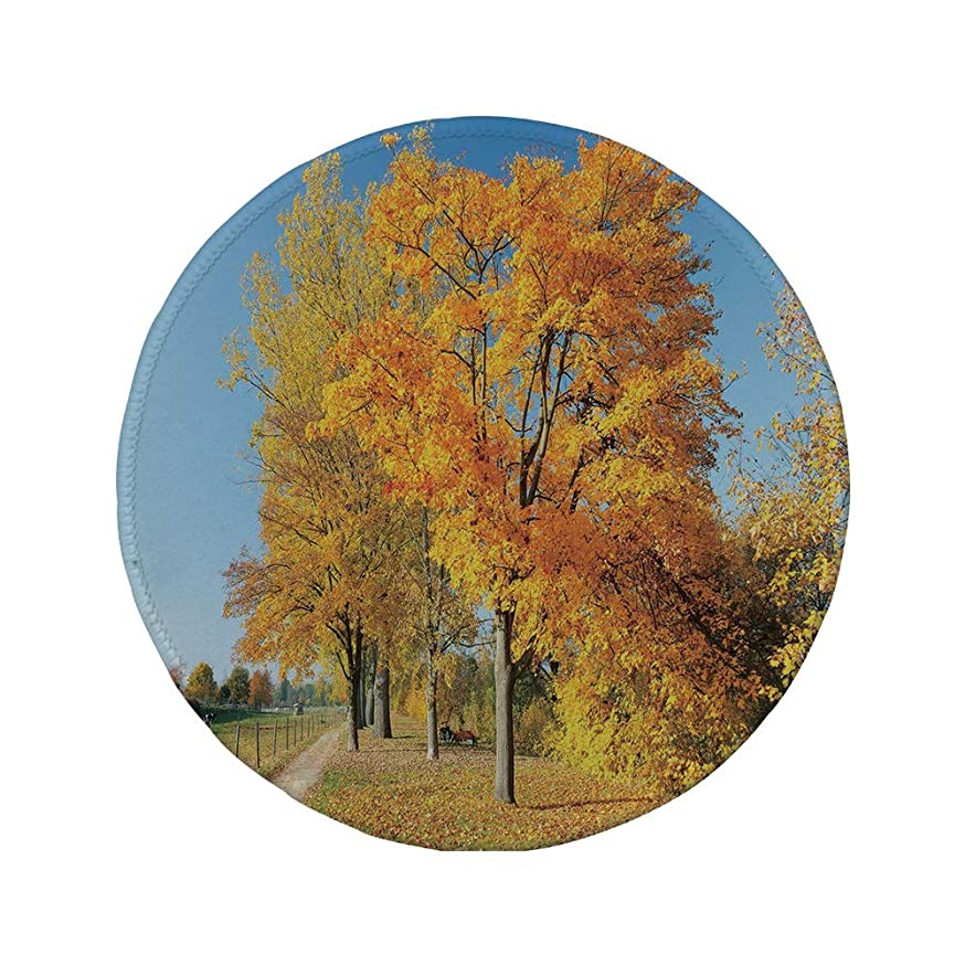 Non-Slip Rubber Round Mouse Pad,Fall,Maple Trees in The Rural Countryside Natural Landscape Tranquil View,Pale Blue Yellow Green,7.87