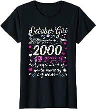 Womens October Girl 2000 Tshirt 19Th Birthday Gift 19 Years Old T-Shirt