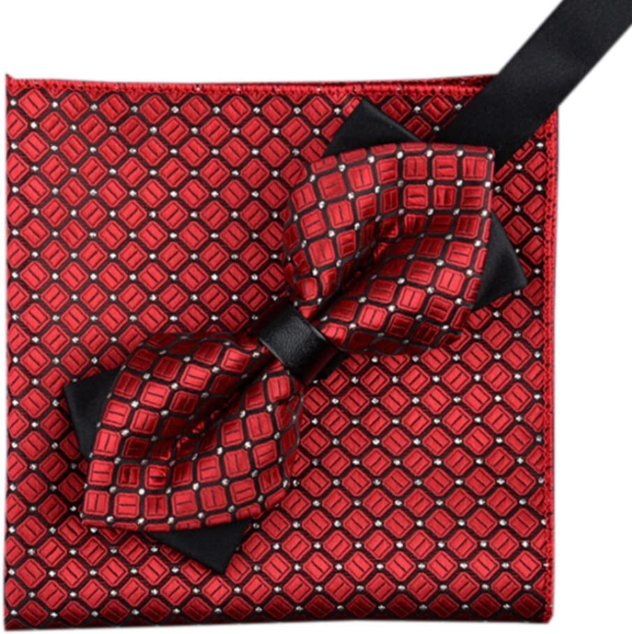 Alien Storehouse Mens Fashionable Bow Tie Set Pocket Square for Party/Wedding Wear, Red